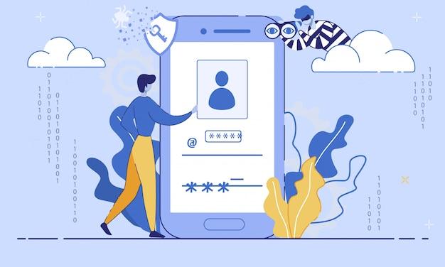 Internet user data security flat  concept