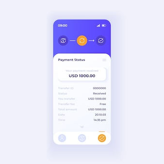 Internet wallet application smartphone interface vector template. mobile app page light theme design layout. payment status screen. flat ui for application. transaction information phone display