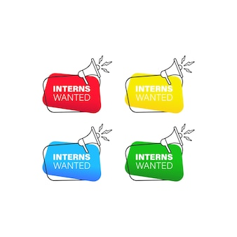 Interns wanted. badge with megaphone icon set in flat style. vector on isolated white background. eps 10.