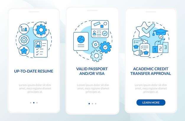 해외 인턴쉽은 모바일 앱 페이지 화면 온보딩 요구