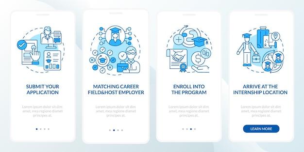 해외 인턴십 절차 온보딩 모바일 앱 페이지 화면입니다. 개념과 함께 응용 프로그램 연습 4단계 그래픽 지침을 제출합니다. 선형 컬러 일러스트레이션이 있는 ui, ux, gui 벡터 템플릿