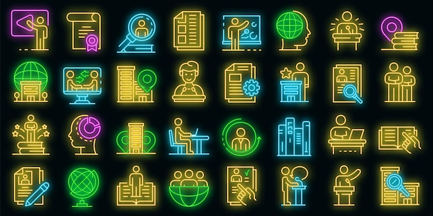 Internship icons set. outline set of internship vector icons neon color on black