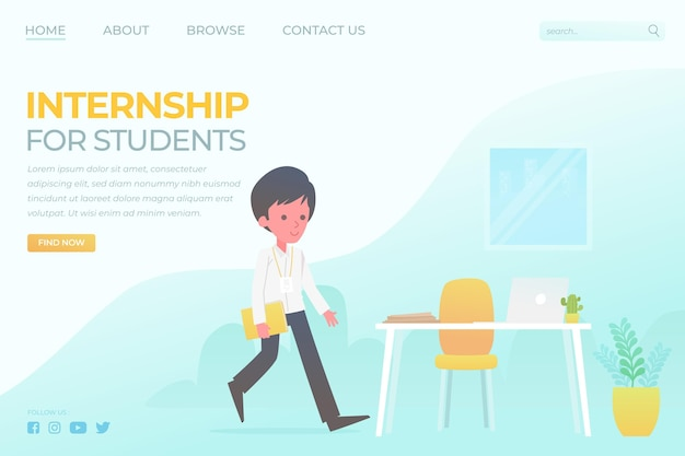 Internship job home page illustrated