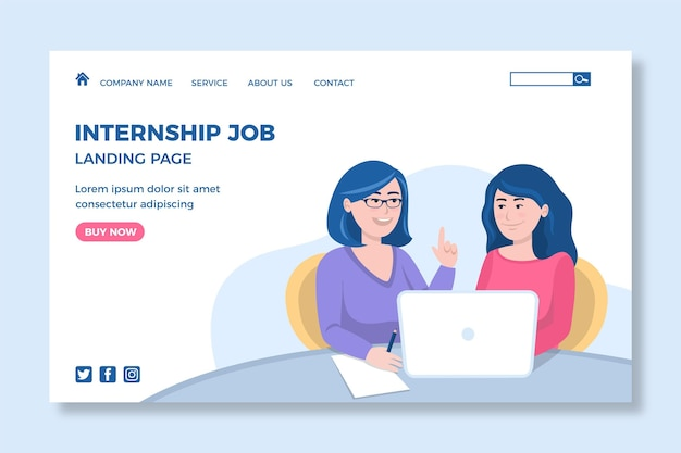 Internship job landing page design