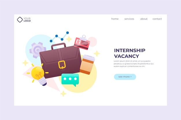 Internship job landing page template