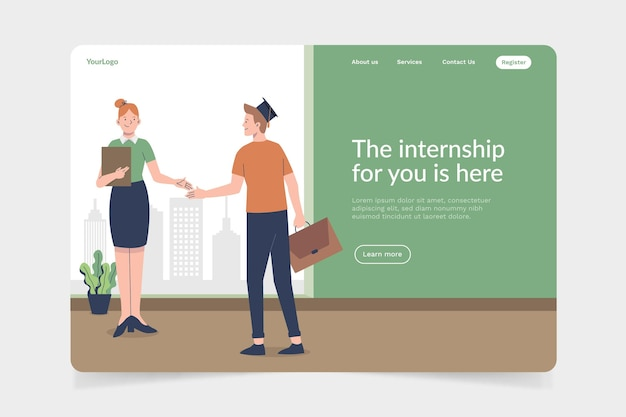 Internship job landing page with illustration