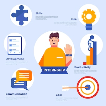 Internship job training infographic with details