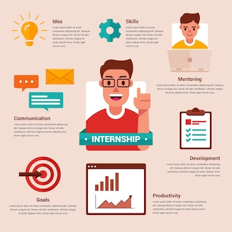 Internship job training infographic with illustrations
