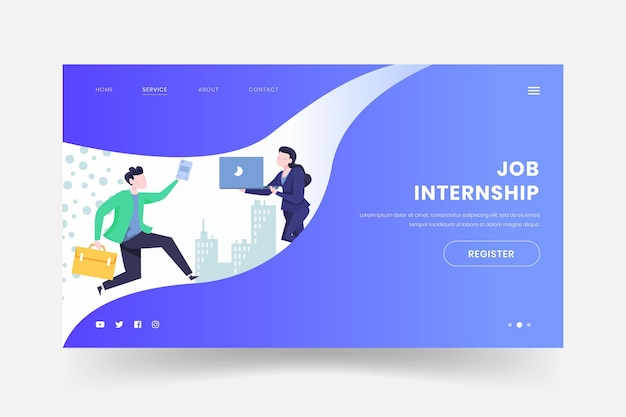 Internship job web page template