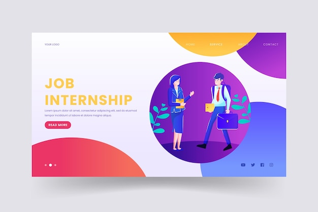 Internship job web template illustrated