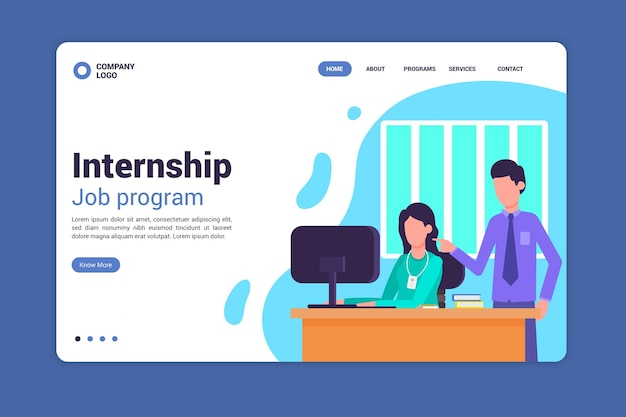Internship offer landing page template