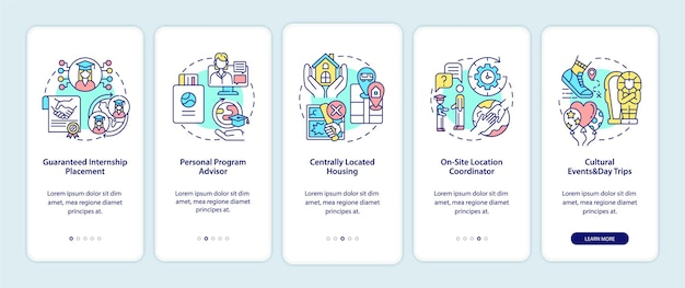 Internship program benefits onboarding mobile app page screen. placement, advisor walkthrough 5 steps graphic instructions with concepts. ui, ux, gui vector template with linear color illustrations