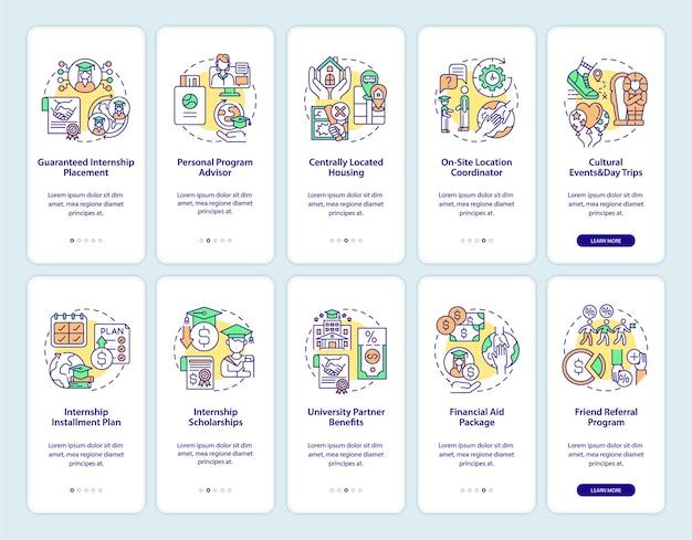 Internship programs onboarding mobile app page screens set