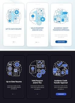 인턴십 요구 사항 온보딩 모바일 앱 페이지 화면. 개념이 포함된 업데이트된 cv 연습 3단계 그래픽 지침. 선형 야간 및 주간 모드 일러스트레이션이 있는 ui, ux, gui 벡터 템플릿