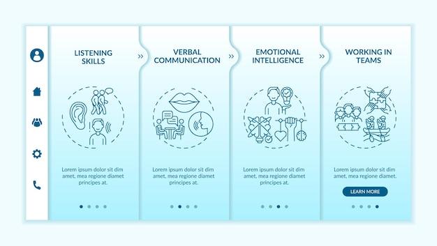 대인 관계 기술 자체 평가 범주 온보딩 벡터 템플릿. 아이콘이 있는 반응형 모바일 웹사이트입니다. 웹 페이지 연습 4단계 화면. 선형 삽화가 있는 성공 색상 개념