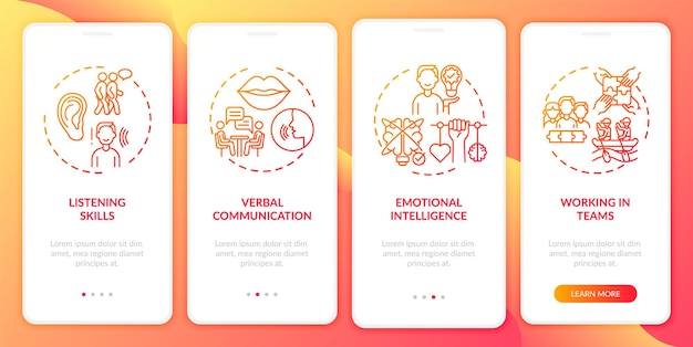 Interpersonal skill self assessment categories red onboarding mobile app page screen with concept