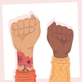 異人種間の活動家の手