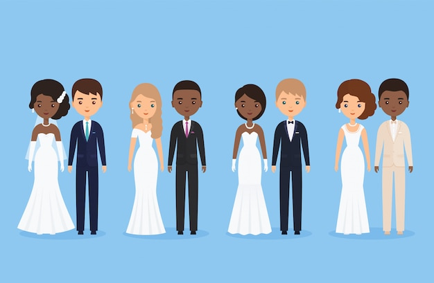 Interracial bride and groom. mixed newlywed couple. cartoon wedding characters standing isolated.  illustration. animated caucasian and black people. icons male, female person. flat .