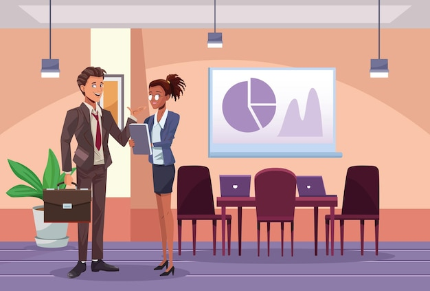 Межрасовые деловые пары рабочих на иллюстрации сцены рабочего места