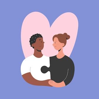 手をつなぐ異人種間のカップル愛と関係の概念