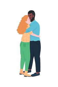 Interracial couple hugging flat