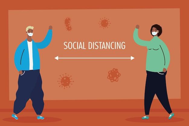 Межрасовая пара, практикующая персонажей социального дистанцирования