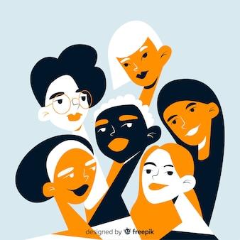 여성 배경의 인종 그룹
