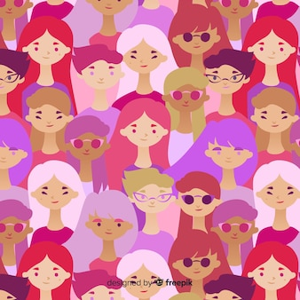 Interracial group of women pattern
