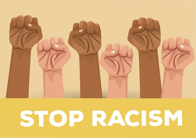 Interracial hands stop racism campaign