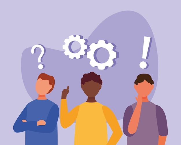 Interracial men doubting with question marks and gears vector illustration design