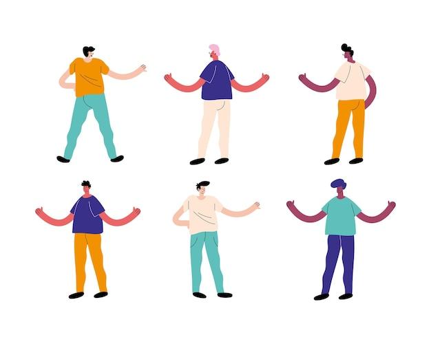 異人種間の男性グループのアバターキャラクター