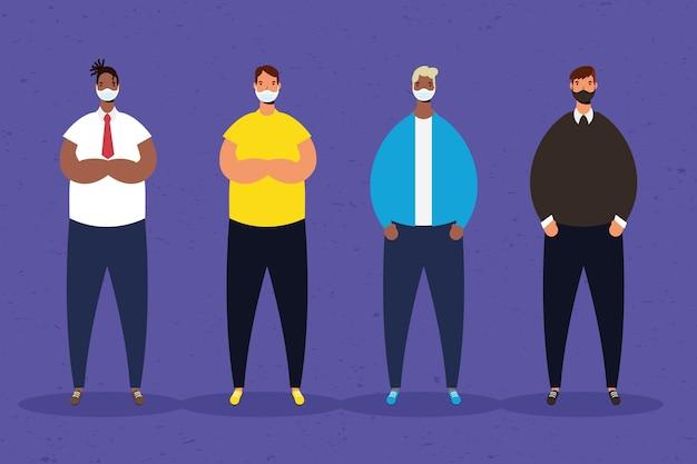 Межрасовая группа мужчин, практикующих персонажей социального дистанцирования