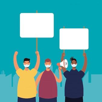 プラカードとメガホンのイラストで抗議する医療マスクを身に着けている異人種間の男性