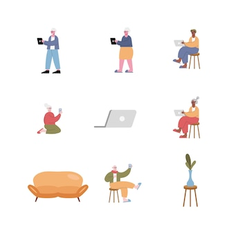 Interracial old people using technology and set icons  illustration