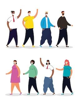 Межрасовая группа людей, практикующих персонажей социального дистанцирования