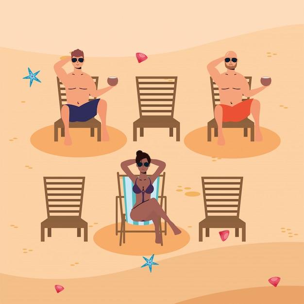 Межрасовые люди на пляже практикуют социальную дистанцию