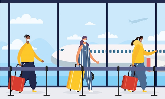 Межрасовые люди путешественники с чемоданами
