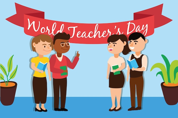 Interracial teachers team workers characters vector illustration design