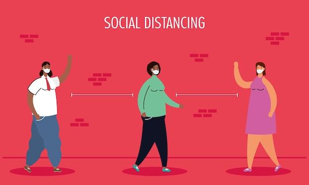Межрасовая женская группа, практикующая персонажей социального дистанцирования