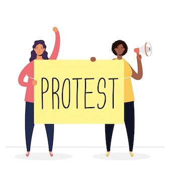 확성기와 현수막 일러스트와 함께 항의하는 인종 여성