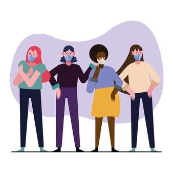 의료 마스크 일러스트 디자인을 입고 인종 간 젊은 여성 그룹
