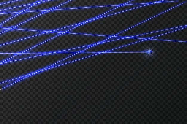 暗い背景で交差する輝くレーザーセキュリティビーム