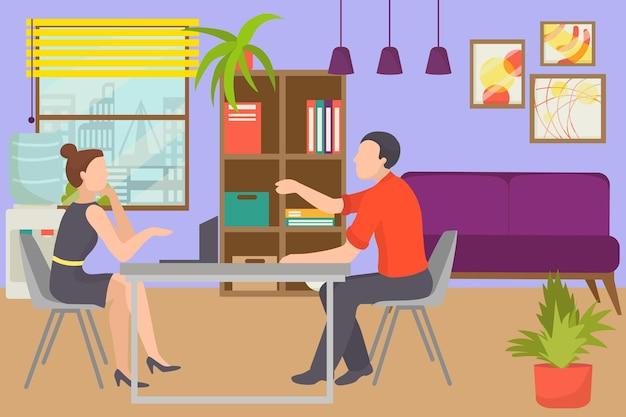 사무실 작업, 벡터 일러스트 레이 션에 대 한 인터뷰입니다. 비즈니스 직원은 채용 사람들을 위해 일하고 회사에서 평평한 경력을 위한 후보자를 고용합니다. 전문 회의에서 남자 여자 캐릭터는 테이블에 앉아 있습니다.