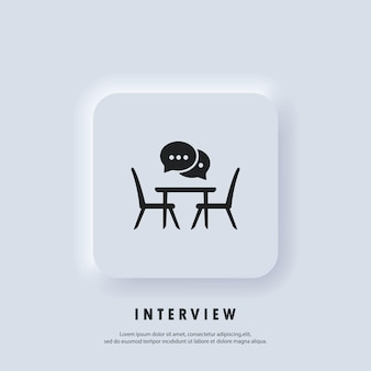 Interview icon. conference meeting room, board flat icon. concilium icon, business meeting. office desk, chairs with a speech bubble. people sitting at the table. vector. neumorphic ui ux