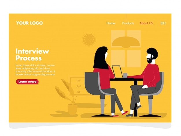 Interview illustration for landing page