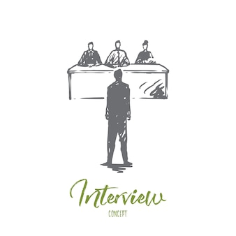 Interview, job, work, meeting, office concept. hand drawn employee on job interview concept sketch.