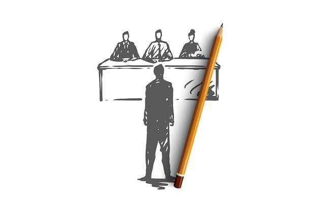 面接、仕事、仕事、会議、オフィスのコンセプト。就職の面接の概念スケッチに手描きの従業員。