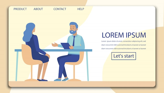 Interview, negotiation, meeting flat landing page