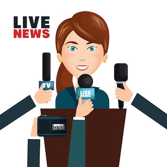 Interview to person on podium vector illustration design