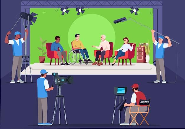 インタビューセットセミ。質問をする。車椅子の人と話しているintervier。テレビ番組の作成。クロマキーの背景。